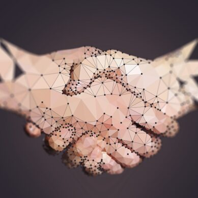 Polygon of Two High Tech Hands Handshaking on dark background.