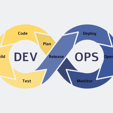 Devops symbol and icon, software development operations concept with plan and code, build and test. Release and deploy, operate and monitor, flat vector devops illustration.