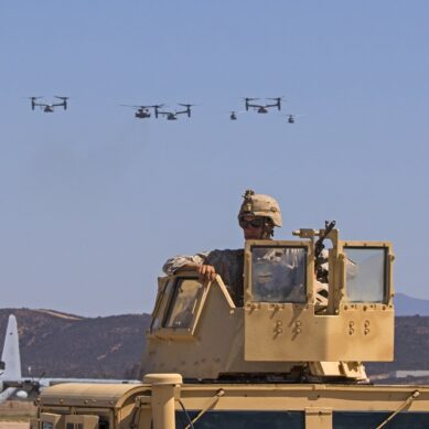 September 24,2016- San Diego, California,USA. Marines soldier and squadron of helicopters aircraft flying at the 2016 Miramar Air Show in San Diego, California. The 2016 Miramar Air Show features 3 days of military aircraft performing free to the general public and the showcase of the US Navy Blue Angels.