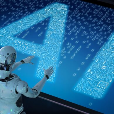 3d rendering humanoid robot with ai text in ciucuit pattern