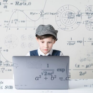 Education technology concept. Schoolboy learning in the room. Online school. EdTech.