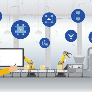 Automation industry concept with workers control robots and machines flat design vector illustration